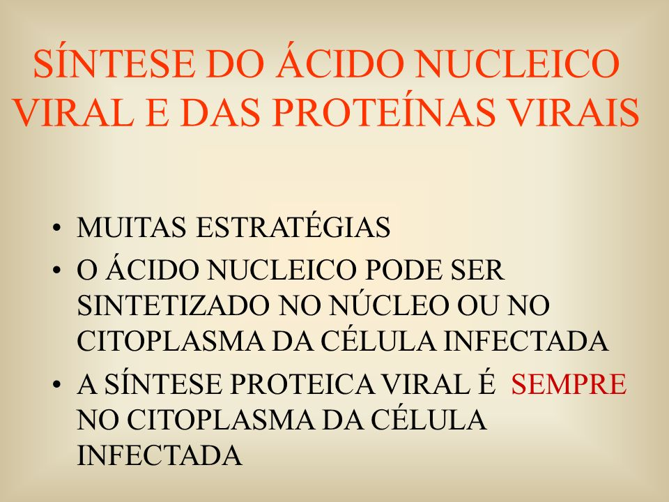 SÍNTESE DO ÁCIDO NUCLEICO VIRAL E DAS PROTEÍNAS VIRAIS