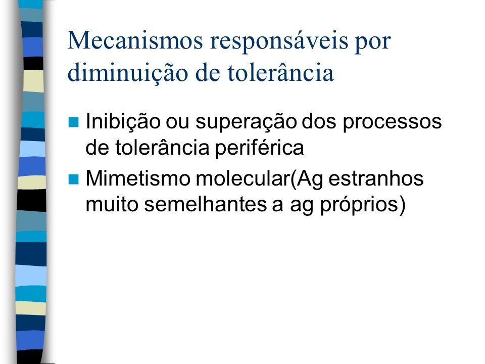 Mecanismos responsáveis por diminuição de tolerância