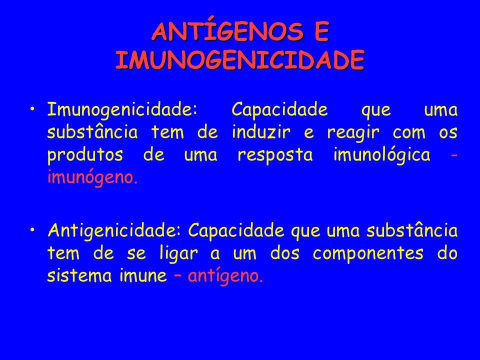 ANTÍGENOS E IMUNOGENICIDADE