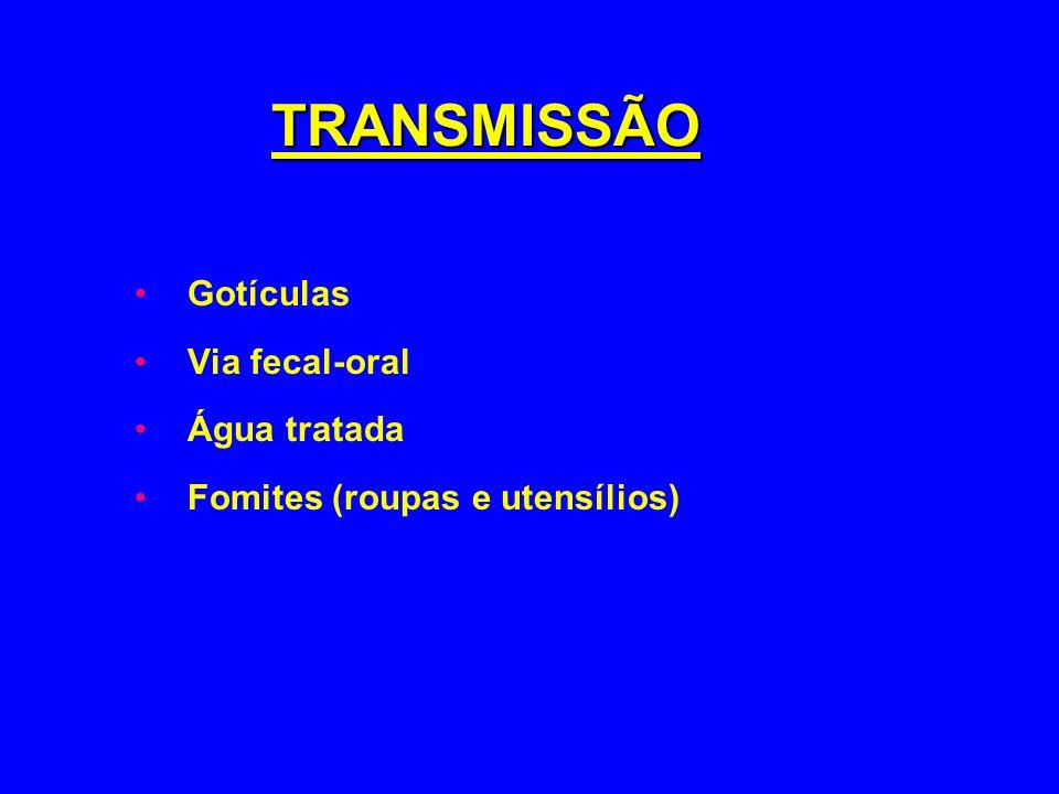 Gotículas Via fecal-oral Água tratada Fomites (roupas e utensílios)