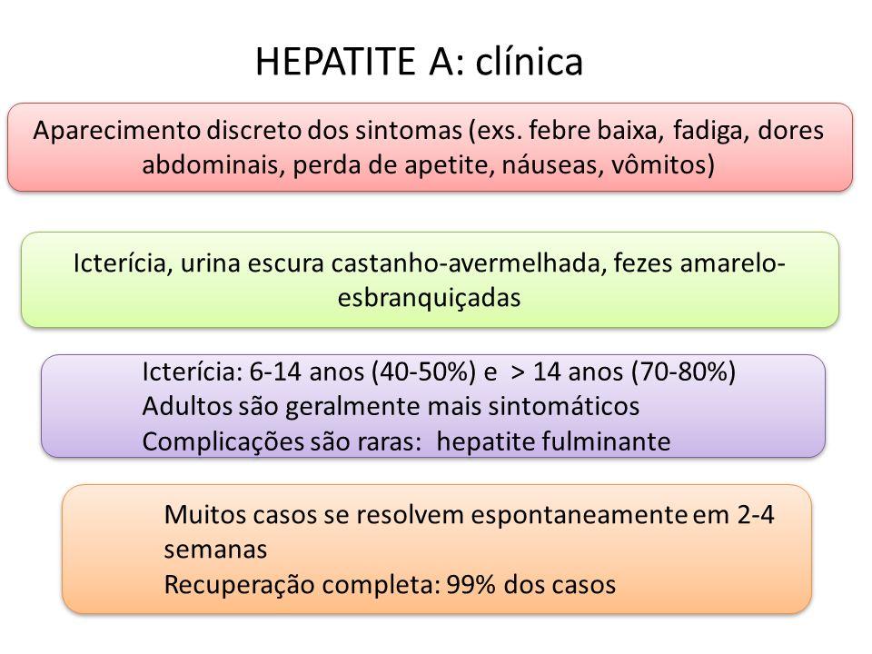 HEPATITE A: clínica Aparecimento discreto dos sintomas (exs. febre baixa, fadiga, dores abdominais, perda de apetite, náuseas, vômitos)