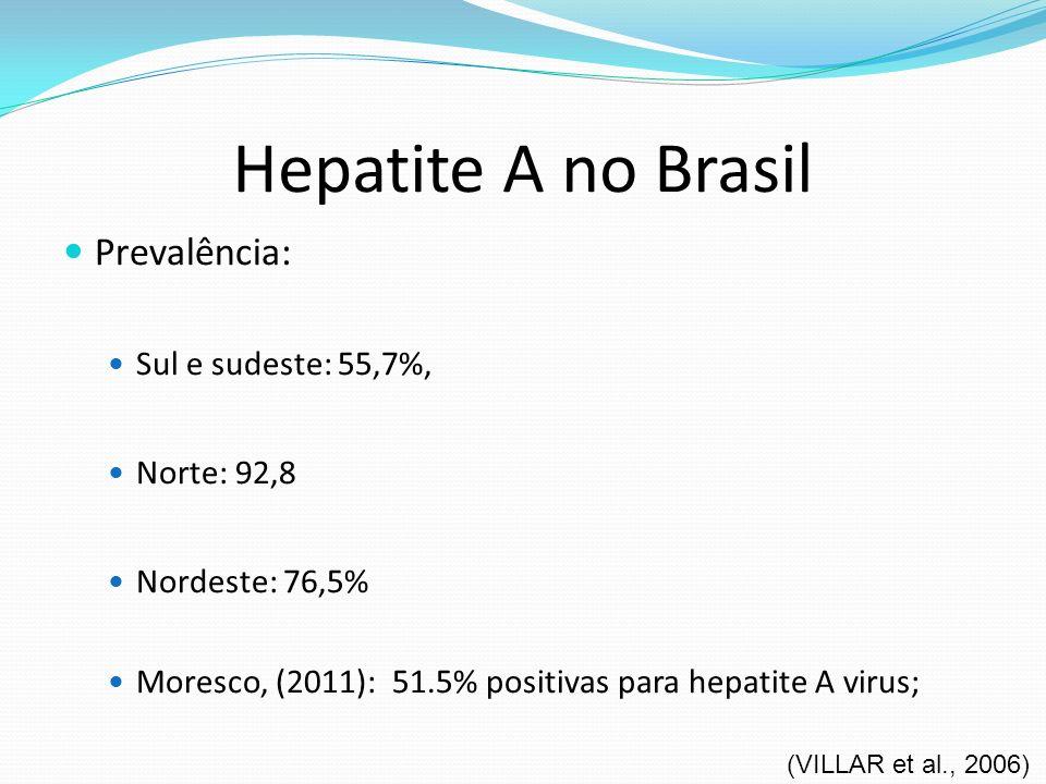 Hepatite A no Brasil Prevalência: Sul e sudeste: 55,7%, Norte: 92,8