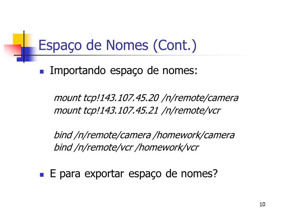Espaço de Nomes (Cont.) Importando espaço de nomes: