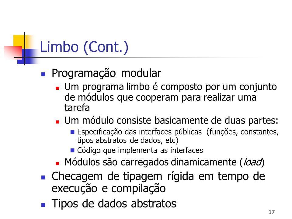 Limbo (Cont.) Programação modular