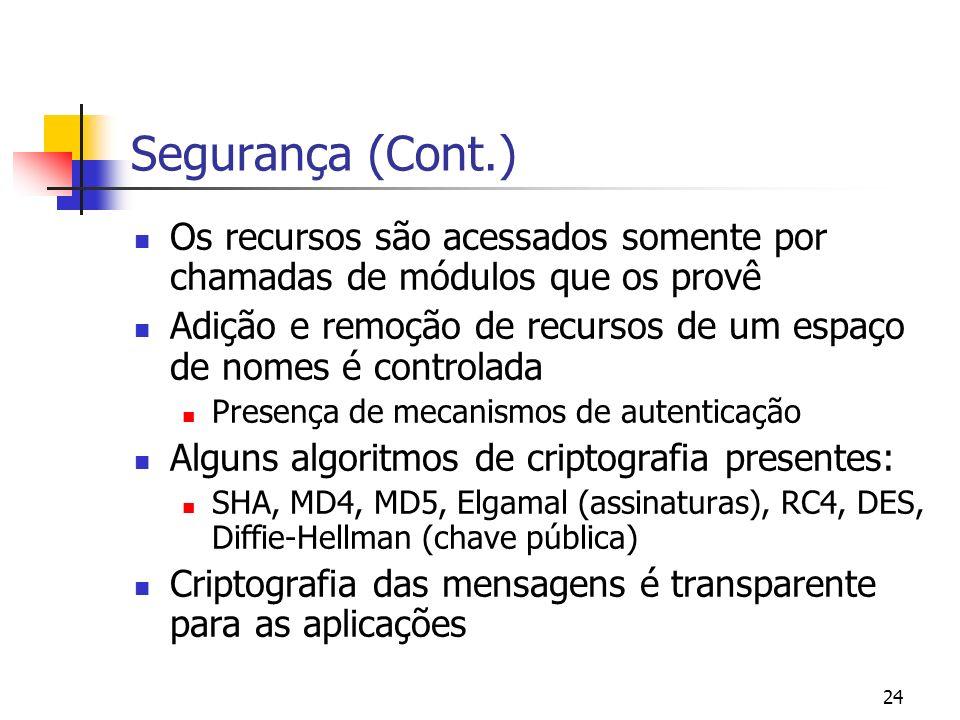 Segurança (Cont.)Os recursos são acessados somente por chamadas de módulos que os provê.