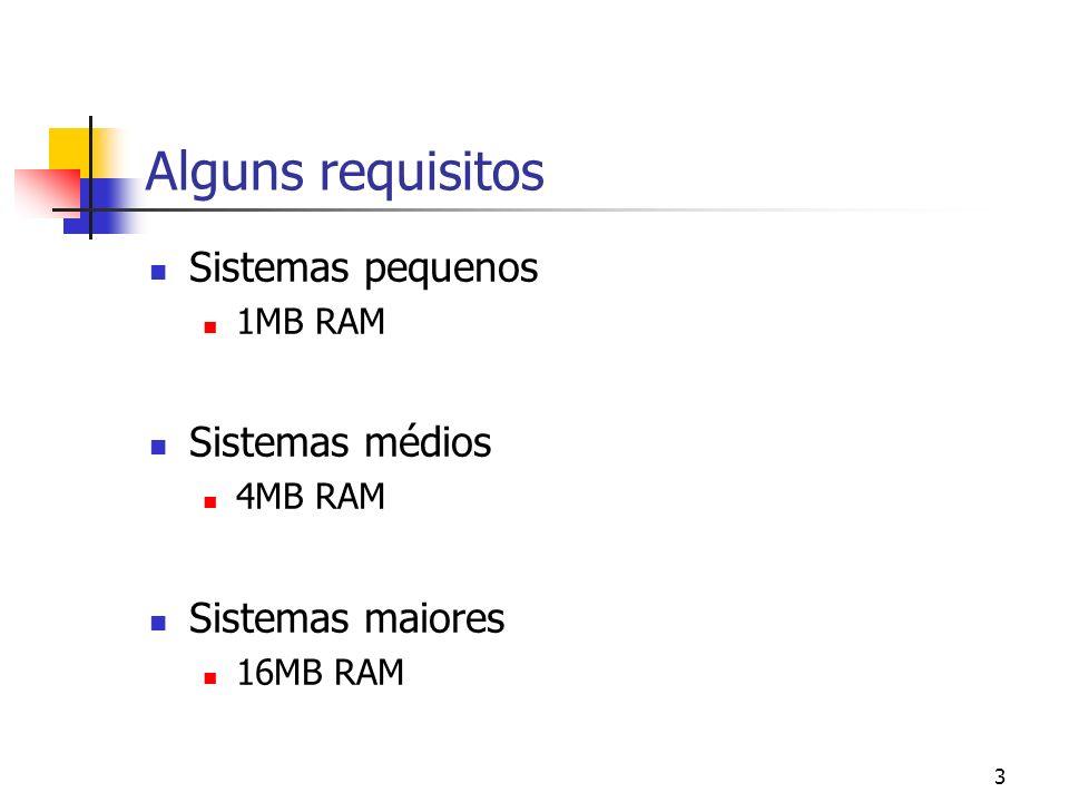 Alguns requisitos Sistemas pequenos Sistemas médios Sistemas maiores