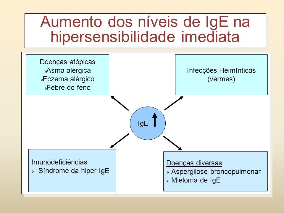 Aumento dos níveis de IgE na hipersensibilidade imediata