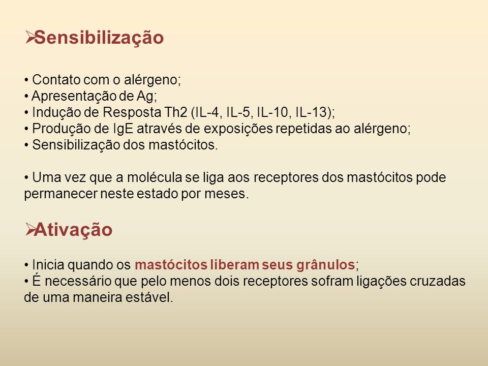 Sensibilização Ativação Contato com o alérgeno; Apresentação de Ag;