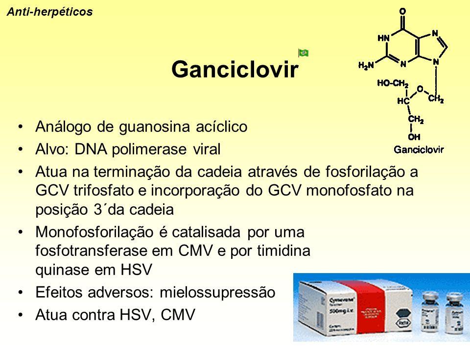 Ganciclovir Análogo de guanosina acíclico Alvo: DNA polimerase viral