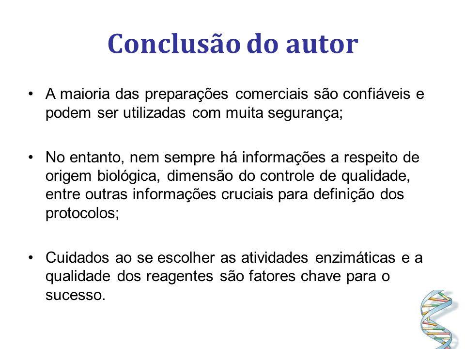 Conclusão do autor A maioria das preparações comerciais são confiáveis e podem ser utilizadas com muita segurança;