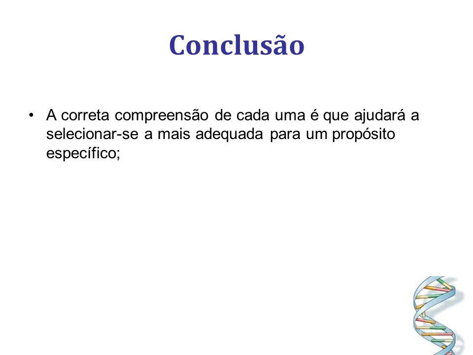 Conclusão A correta compreensão de cada uma é que ajudará a selecionar-se a mais adequada para um propósito específico;