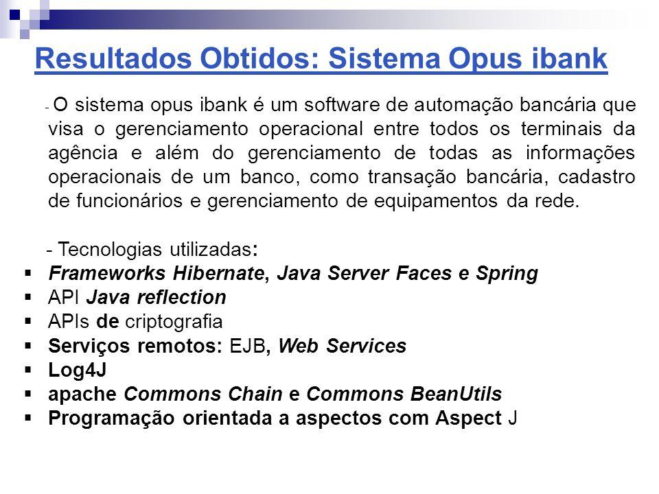 Resultados Obtidos: Sistema Opus ibank