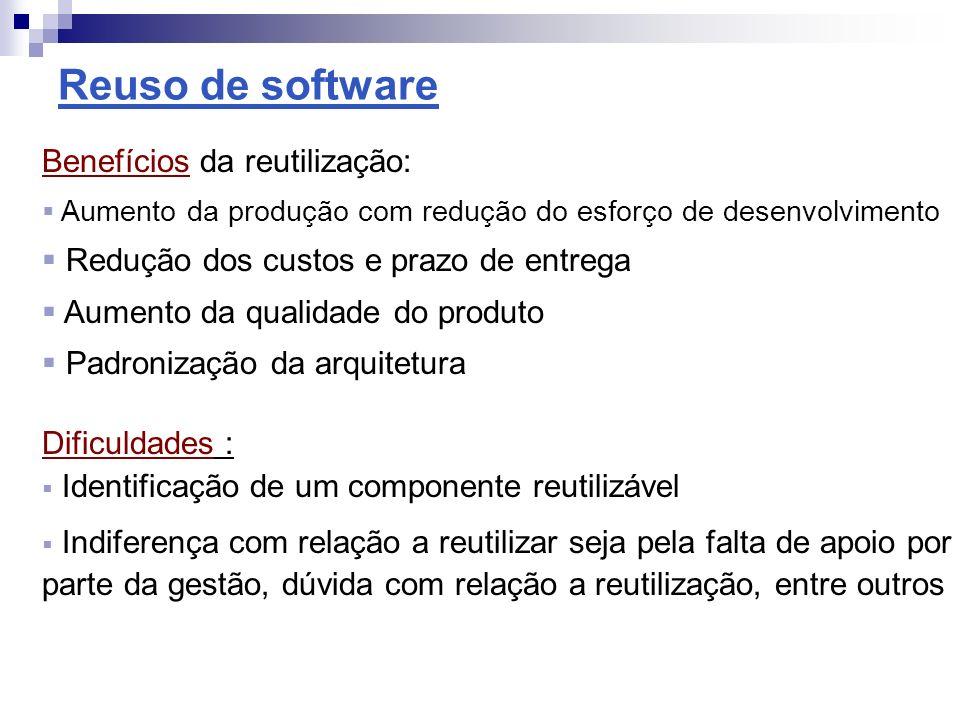 Reuso de software Benefícios da reutilização: