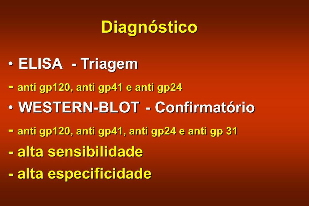 Diagnóstico ELISA - Triagem - anti gp120, anti gp41 e anti gp24