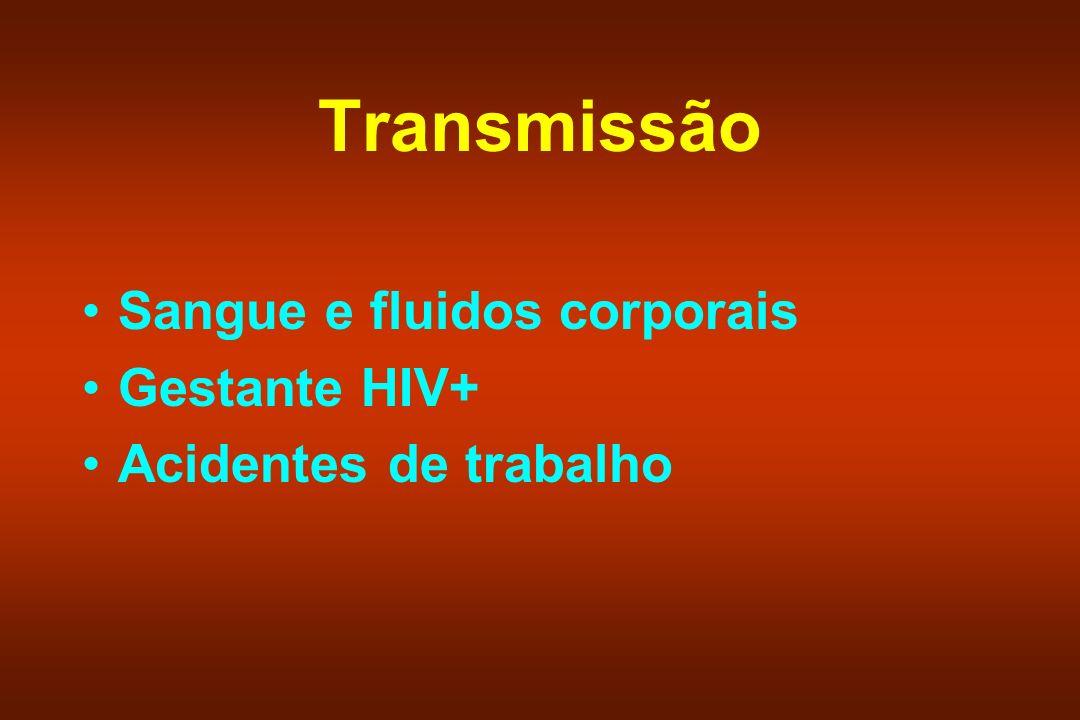 Transmissão Sangue e fluidos corporais Gestante HIV+