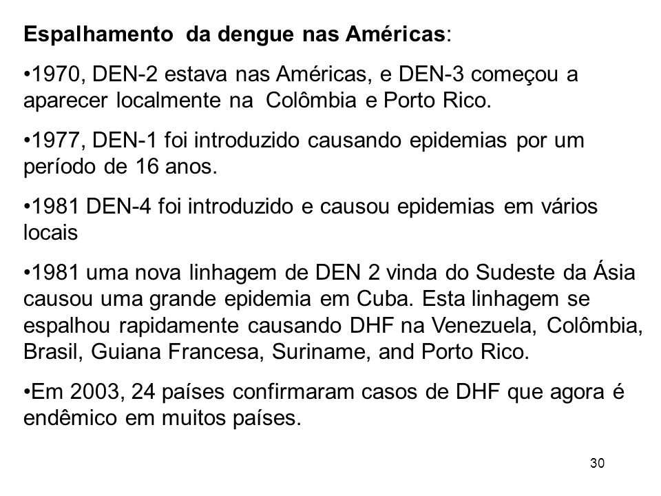 Espalhamento da dengue nas Américas: