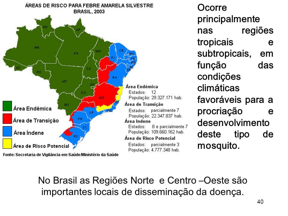 Ocorre principalmente nas regiões tropicais e subtropicais, em função das condições climáticas favoráveis para a procriação e desenvolvimento deste tipo de mosquito.