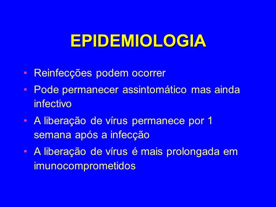 EPIDEMIOLOGIA Reinfecções podem ocorrer