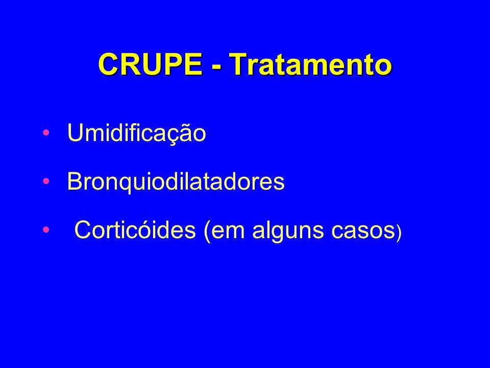 CRUPE - Tratamento Umidificação Bronquiodilatadores