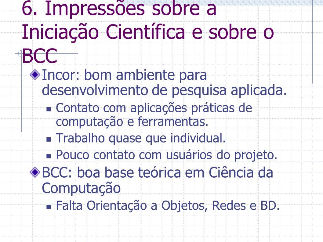 6. Impressões sobre a Iniciação Científica e sobre o BCC