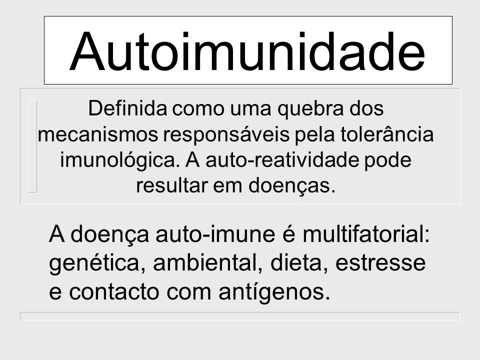 Autoimunidade Definida como uma quebra dos mecanismos responsáveis pela tolerância imunológica. A auto-reatividade pode resultar em doenças.
