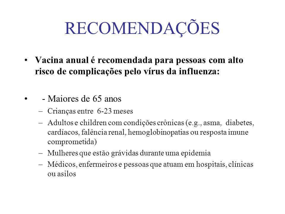 RECOMENDAÇÕES Vacina anual é recomendada para pessoas com alto risco de complicações pelo vírus da influenza: