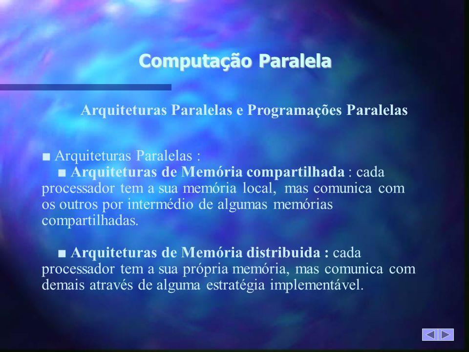 Computação Paralela Arquiteturas Paralelas e Programações Paralelas