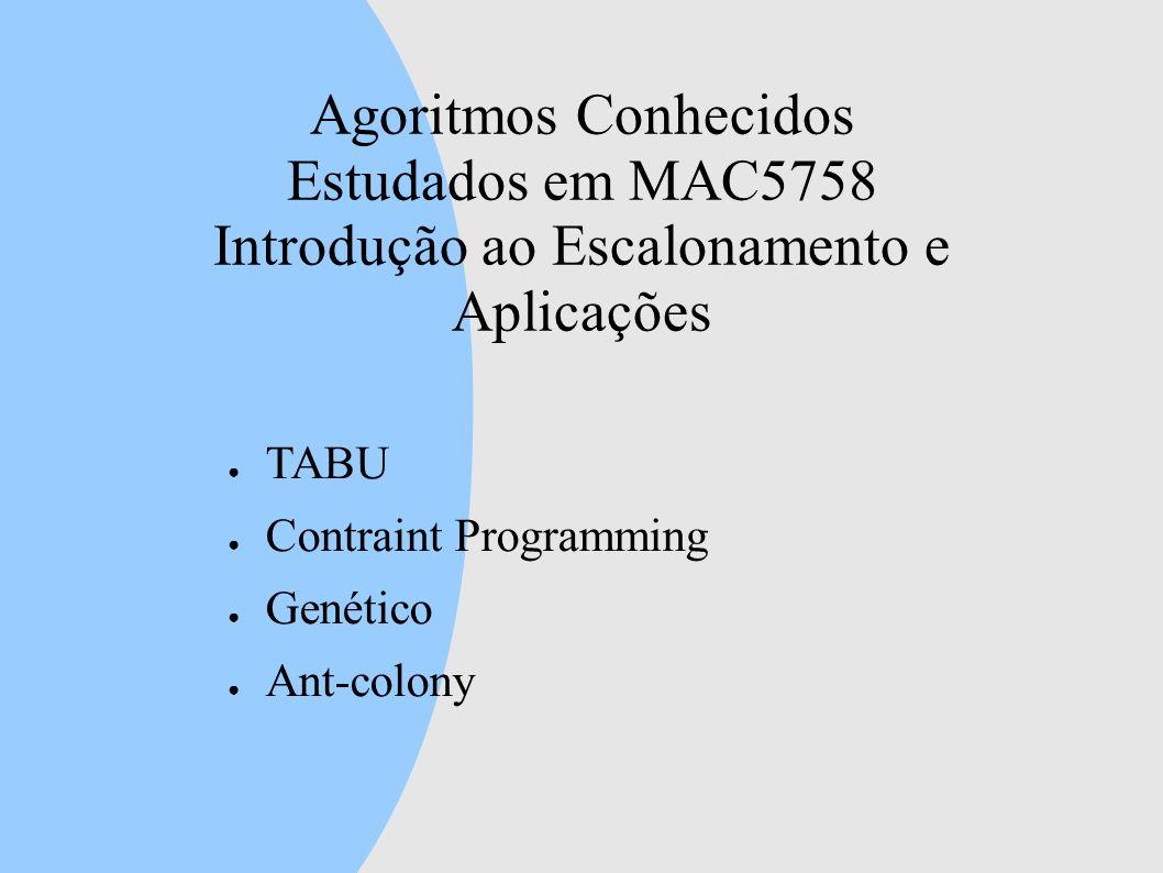 Agoritmos Conhecidos Estudados em MAC5758 Introdução ao Escalonamento e Aplicações
