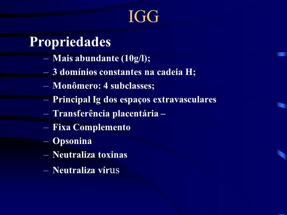 IGG Propriedades Mais abundante (10g/l);