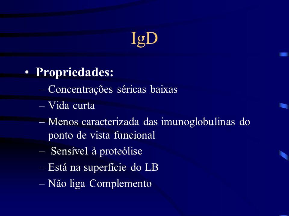 IgD Propriedades: Concentrações séricas baixas Vida curta