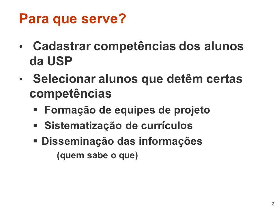 Para que serve Cadastrar competências dos alunos da USP