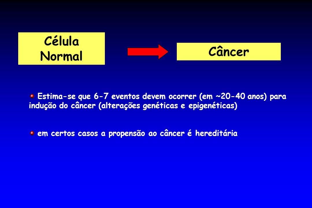 Célula NormalCâncer. Estima-se que 6-7 eventos devem ocorrer (em ~20-40 anos) para indução do câncer (alterações genéticas e epigenéticas)
