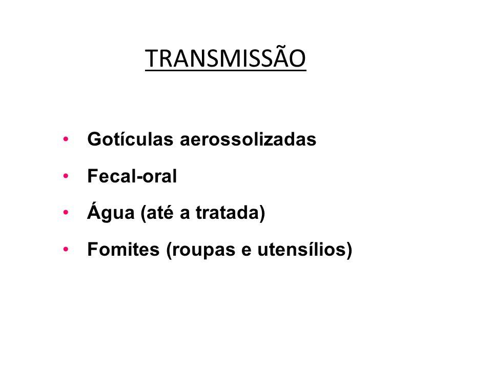TRANSMISSÃO Gotículas aerossolizadas Fecal-oral Água (até a tratada)