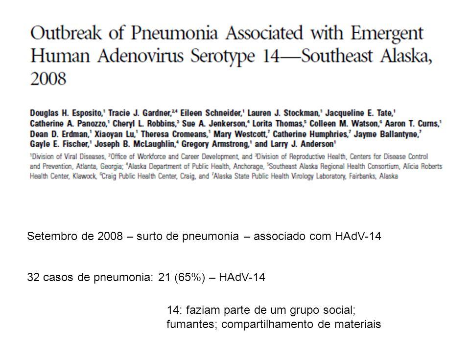 Setembro de 2008 – surto de pneumonia – associado com HAdV-14