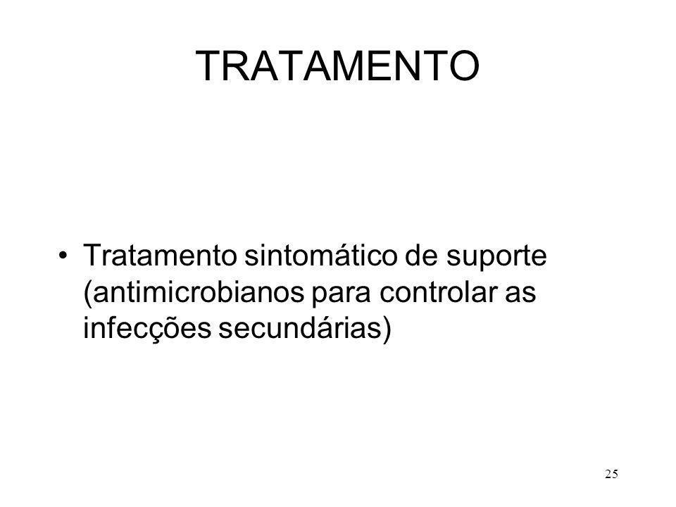 TRATAMENTO Tratamento sintomático de suporte (antimicrobianos para controlar as infecções secundárias)