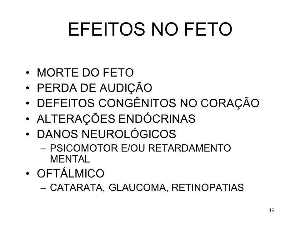 EFEITOS NO FETO MORTE DO FETO PERDA DE AUDIÇÃO