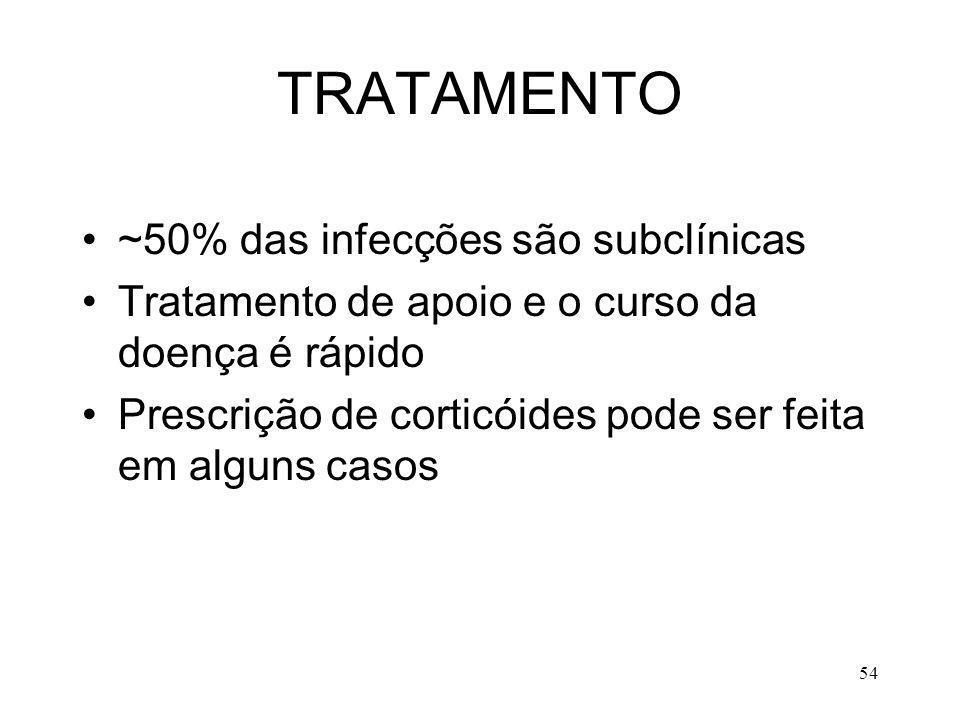 TRATAMENTO ~50% das infecções são subclínicas