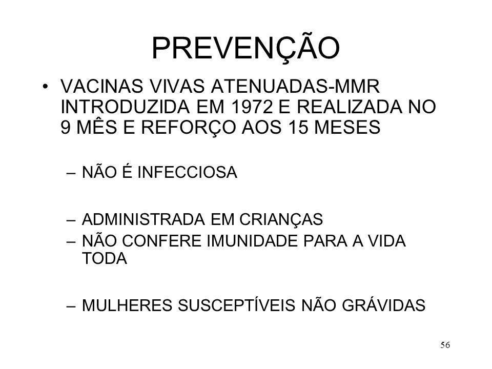PREVENÇÃO VACINAS VIVAS ATENUADAS-MMR INTRODUZIDA EM 1972 E REALIZADA NO 9 MÊS E REFORÇO AOS 15 MESES.