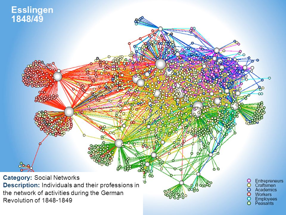 Category: Social Networks Description: Individuals and their professions in the network of activities during the German Revolution of 1848-1849