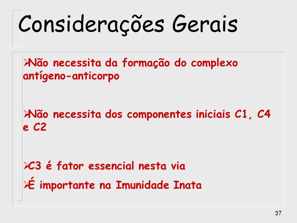 Considerações GeraisNão necessita da formação do complexo antígeno-anticorpo. Não necessita dos componentes iniciais C1, C4 e C2.