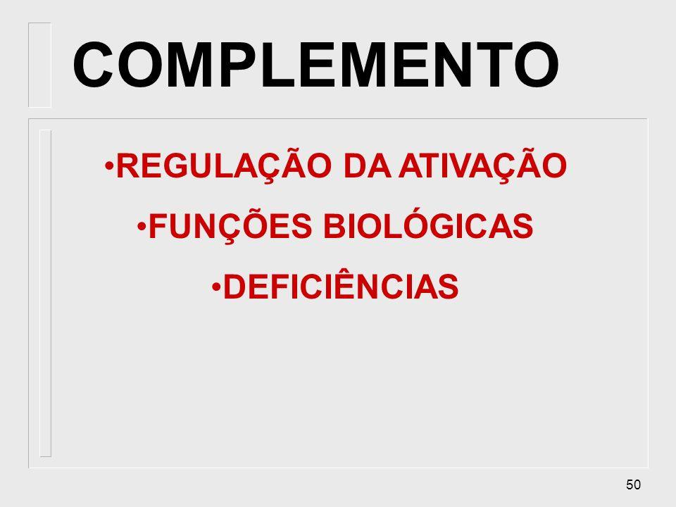 COMPLEMENTO REGULAÇÃO DA ATIVAÇÃO FUNÇÕES BIOLÓGICAS DEFICIÊNCIAS