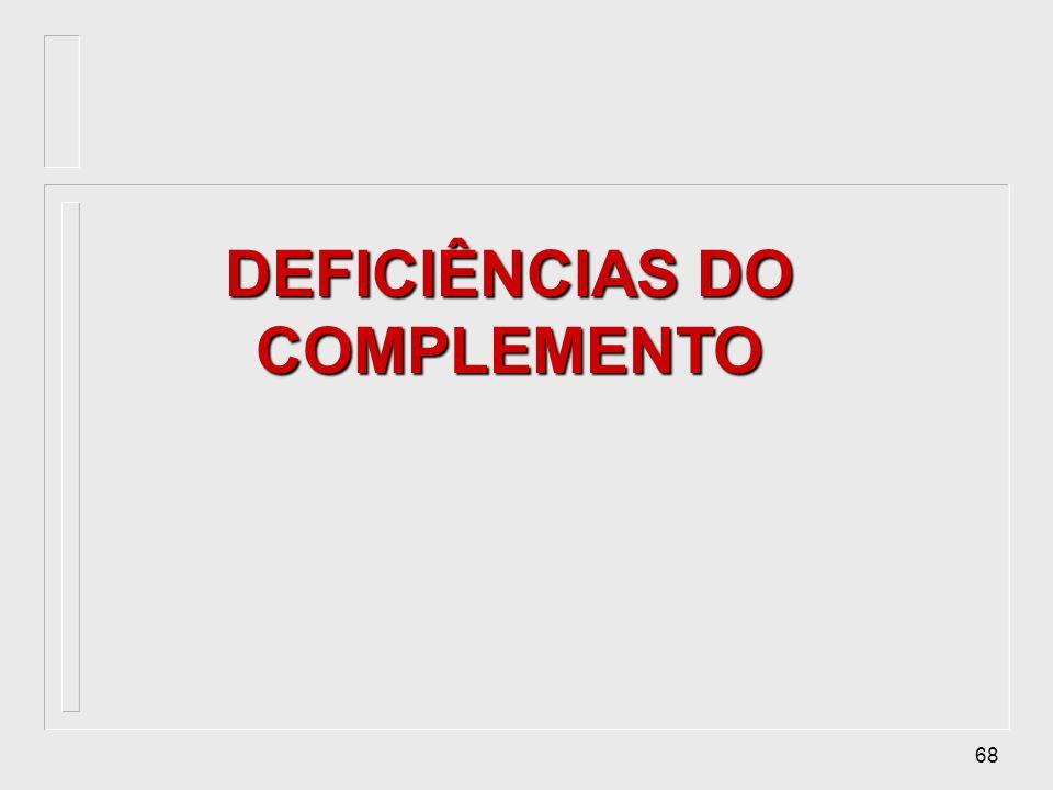 DEFICIÊNCIAS DO COMPLEMENTO
