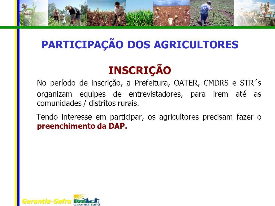 PARTICIPAÇÃO DOS AGRICULTORES INSCRIÇÃO