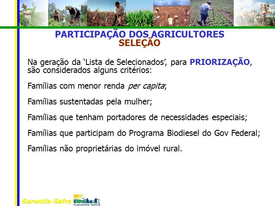 PARTICIPAÇÃO DOS AGRICULTORES SELEÇÃO