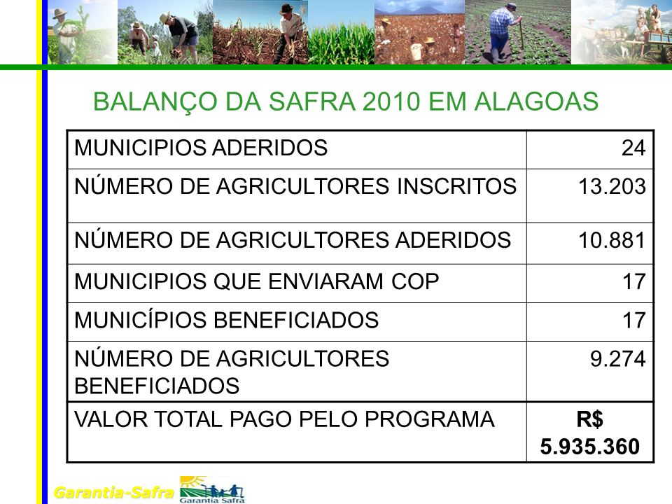 BALANÇO DA SAFRA 2010 EM ALAGOAS