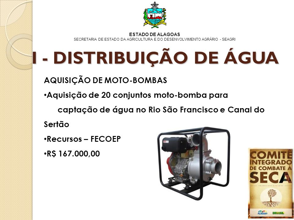 I - DISTRIBUIÇÃO DE ÁGUA