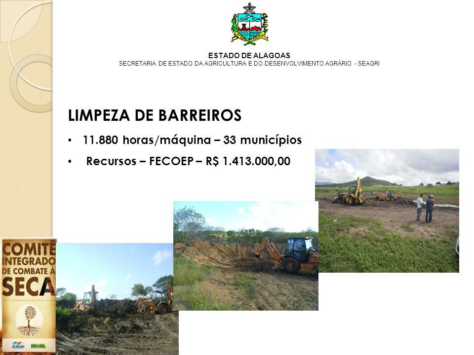 LIMPEZA DE BARREIROS 11.880 horas/máquina – 33 municípios