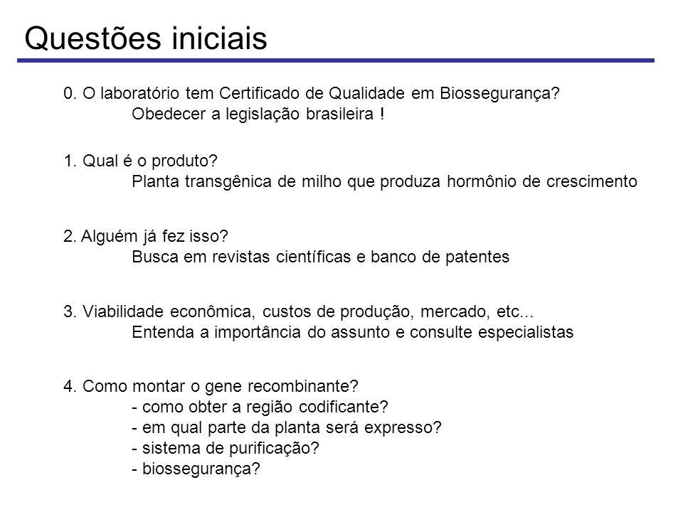 Questões iniciais 0. O laboratório tem Certificado de Qualidade em Biossegurança Obedecer a legislação brasileira !