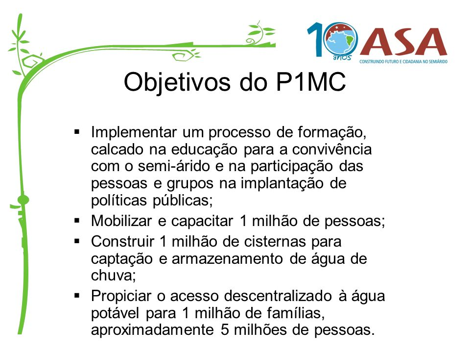 Objetivos do P1MC
