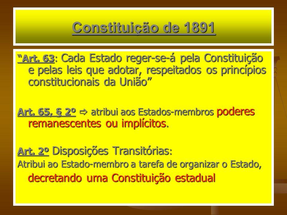 Constituição de 1891 decretando uma Constituição estadual